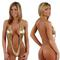Fun and daring metallic gold sling shot deep plunge monokini one piece swimsuit - sohot swimwear