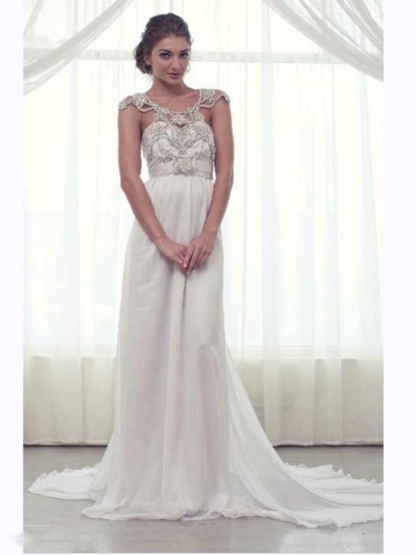 Wholesale 2014 White Sheath Sweetheart Beads Backless Chiffon Wedding Dresses Bridal Gowns AWD59010