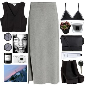 top bralette platform shoes candle black crop top grey maxi skirt skirt