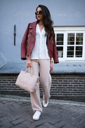 pants,sunglasses,tumblr,pink pants,jacket,red jacket,leather jacket,shirt,white shirt,bag,pink bag,sneakers,white sneakers,spring outfits