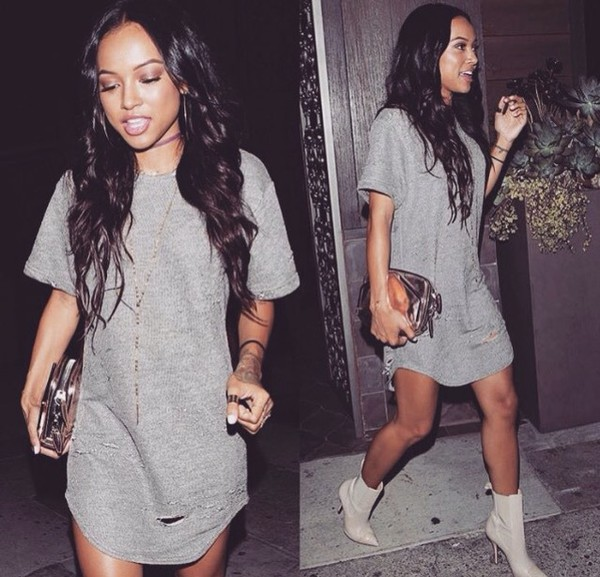 dress grey dress urban top t-shirt dress grey wavy hair streetstyle