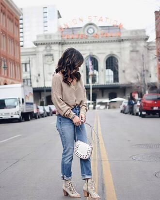 bag tumblr white bag shoulder bag denim jeans blue jeans high heels heels lace up sweater nude sweater shoes