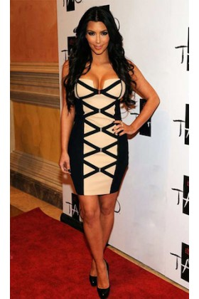 Kim Kardashian Celebrity Bandage Dress In Black and Cream | Wag World Bandage Dresses | Online Boutique For Women