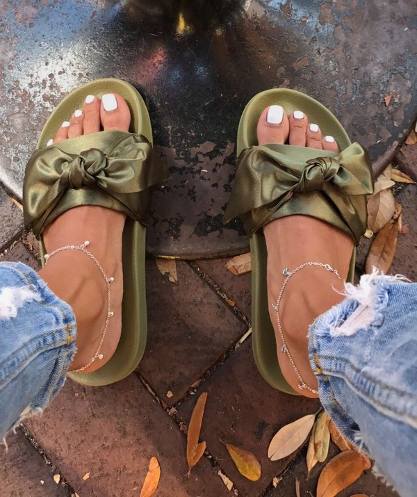 Puma Fenty by Rihanna Bow Slide Sandals Bow Women's Slide Sandals Olive Branch Green