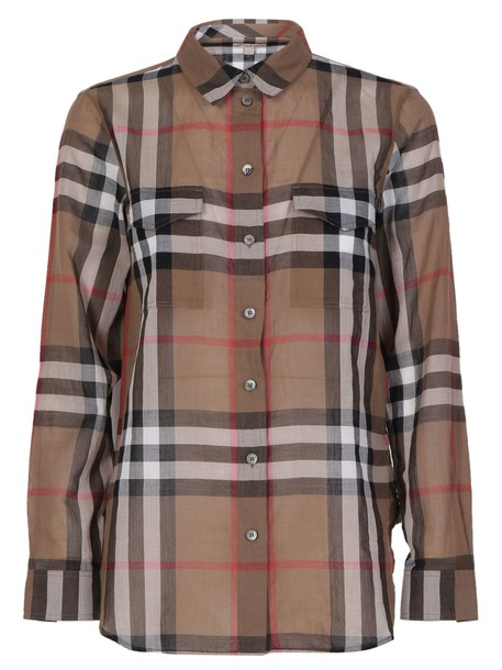 Burberry shirt checked shirt brown taupe top
