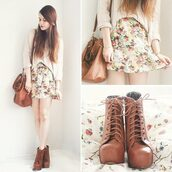 skirt,floral skirt,dress,shoes,bag,blouse,nice,shirt,shorts,fashion,style,jacket,sweater,platform lace up boots,pastel skirt,cardigan,floral skater skirt,cute,flowers