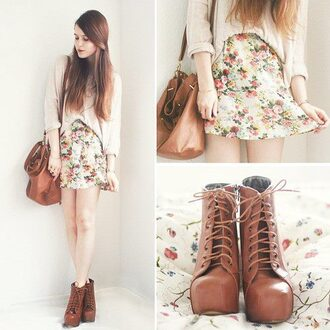 skirt floral skirt shoes pastel skirt cardigan floral skater skirt bag sweater dress blouse nice shirt shorts fashion style jacket platform lace up boots