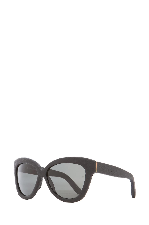 Linda Farrow|Curved Square Polarized Sunglasses in Black Snakeskin