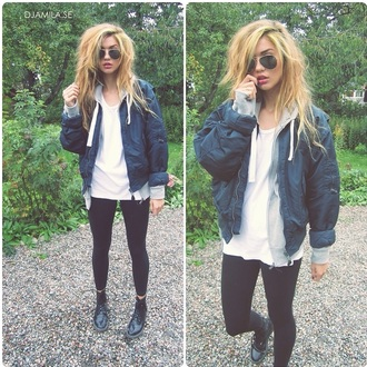 jacket bomber jacket clothes boots style shoes combat boots combat black black boots black leggings leggings tights t-shirt shirt oversized oversized t-shirt top white light blue dark blue hoodie coat sunglasses blonde hair winter jacket winter boots winter coat winter outfits winter swag urban fashion denim jacket denim fall outfits outfit streetwear streetstyle