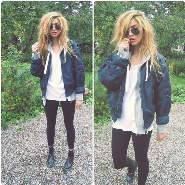 Jacket: bomber jacket, clothes, boots, style, shoes, combat boots ...