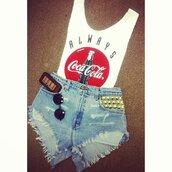 t-shirt,cocacola,sunglasses,shorts