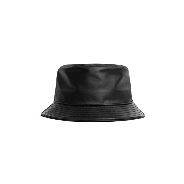 Black pu bucket hat