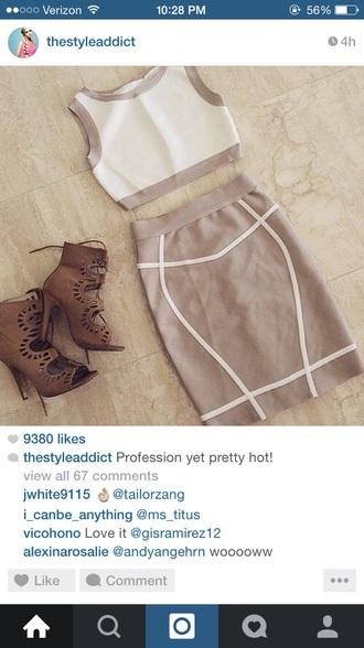 skirt matching skirt and top crop tops