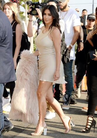 shoes sandals dress mini dress kim kardashian kardashians top coat fur summer dress all nude everything high heel sandals
