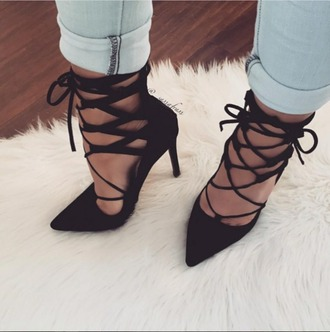 shoes black pointed heels black lace up black heels heels lace up heels lace-up shoes