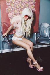i hate blonde,blogger,lingerie set,bolero,pink high heels,pink sunglasses,blonde hair,baby pink,jacket,underwear,shoes,sunglasses,lace bralette,white,vintage