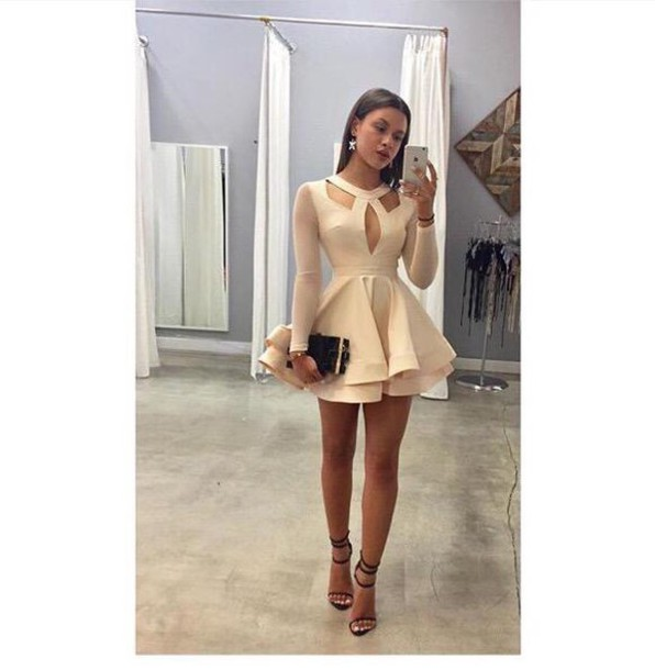 Dress: short dress, tan, nude dress, short, long, long sleeves ...