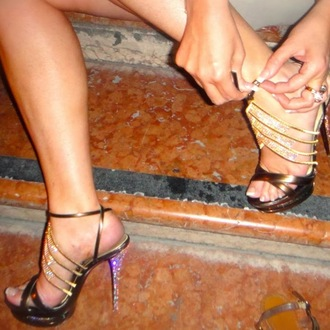 shoes high heels gold diamonds open toes ankle strap high heels