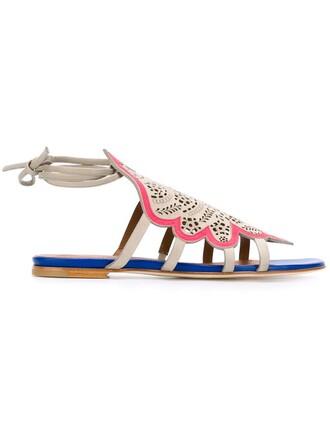 laser cut sandals nude shoes