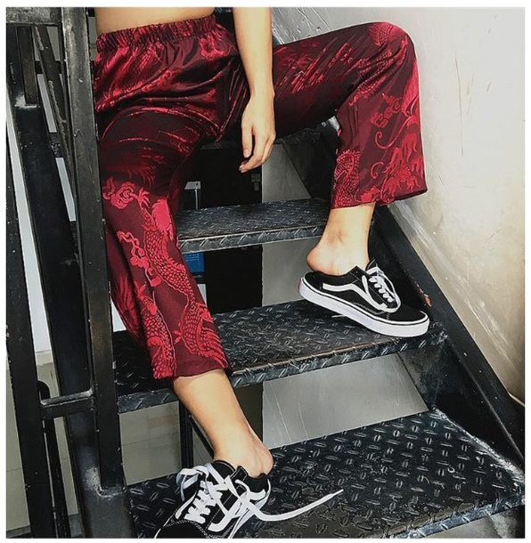 pants girly red silk satin joggers tumblr print
