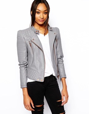 Gray Leather Jacket Womens