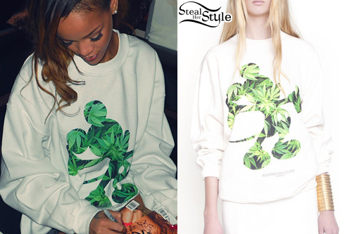 Rihanna: Mickey Mouse Cannabis Sweatshirt | Steal Her Style