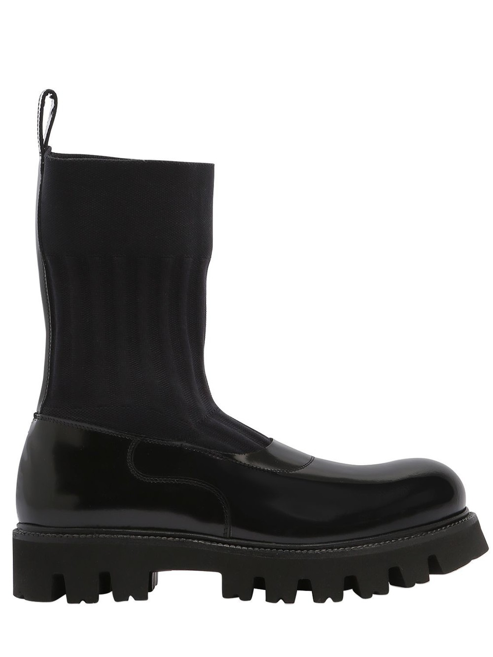 ROCCO P. 30mm Elastic & Brushed Leather Boots in black