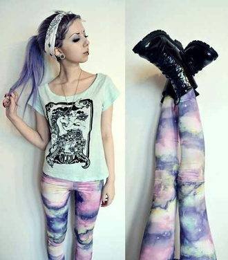 jeans leggings cute cute leggings pastel pastel goth edgy galaxy leggings scene
