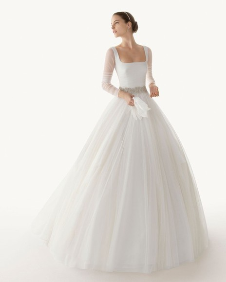dress wedding dress ballgown romantic illusion elegant winter purity beauty wedding bridal gown
