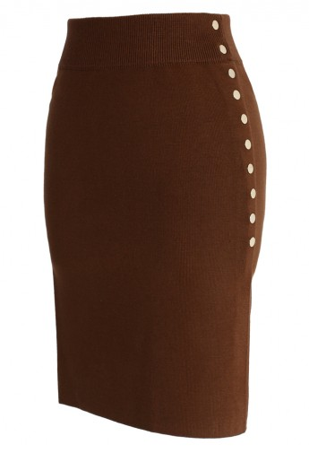 Studs Knitted Pencil Skirt in Tan - Retro, Indie and Unique Fashion