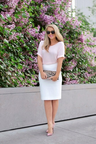 brightandbeautiful blogger top skirt bag sunglasses shoes pink top clutch white skirt pink heels high heel pumps spring outfits