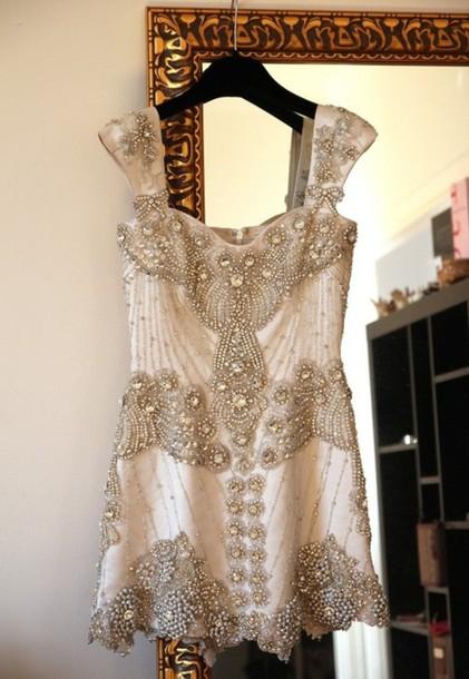 dress white dress beaded