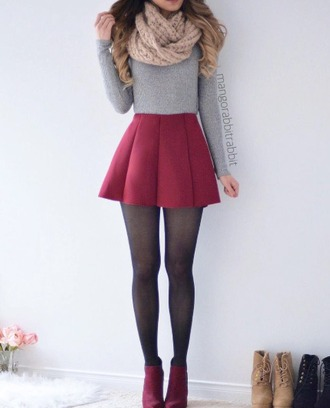 skirt red grey grey sweater top grey top shirt tights black red shoes red skirt pleated outfit winter outfits cozy scarf sweater cropped sweater crop tops cropped grey crop top boots booties beige skater skirt long sleeves pleated skirt infinity scarf circle skirt grey cropped sweater long sleeve tops ankle boots outfit idea shoes