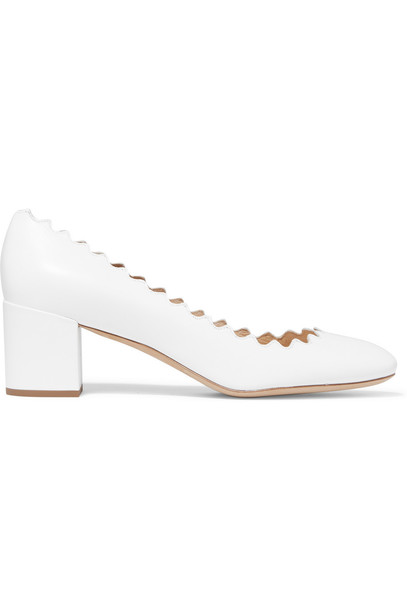 Chloe scalloped pumps leather white shoes
