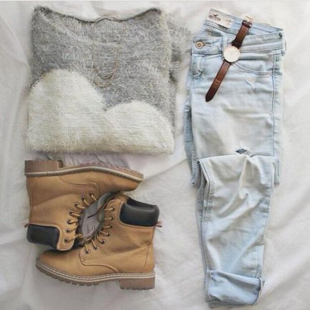 shoes jeans shorts sweater