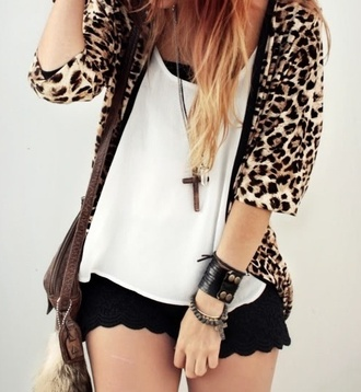 jacket leopard print shorts black jewels blouse cardigan coat