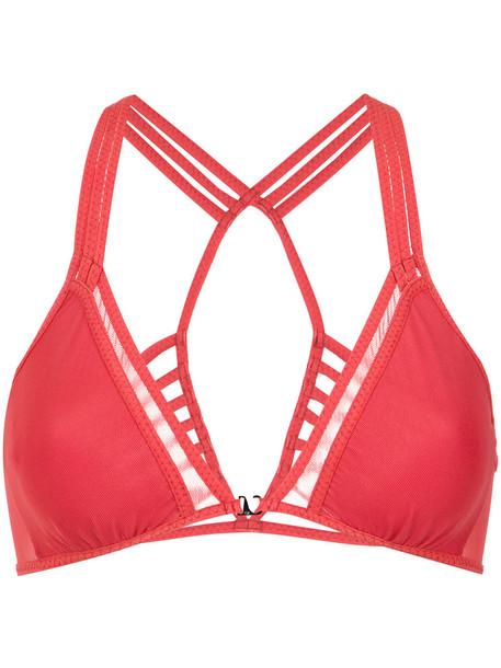 Giuliana Romanno bra strappy bra strappy women spandex red underwear
