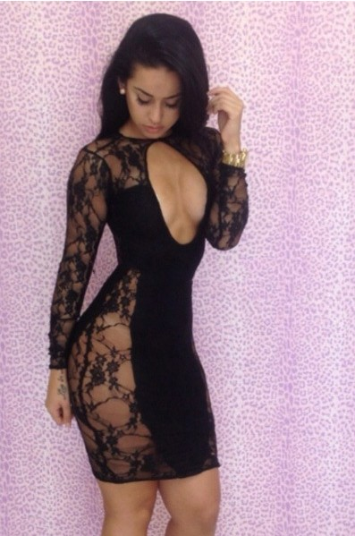 Black Sexy Dress - Bqueen  Cut Out Front Lace | UsTrendy