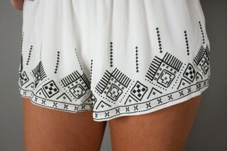 shorts flowy shorts aztec short embroidered shorts white shorts