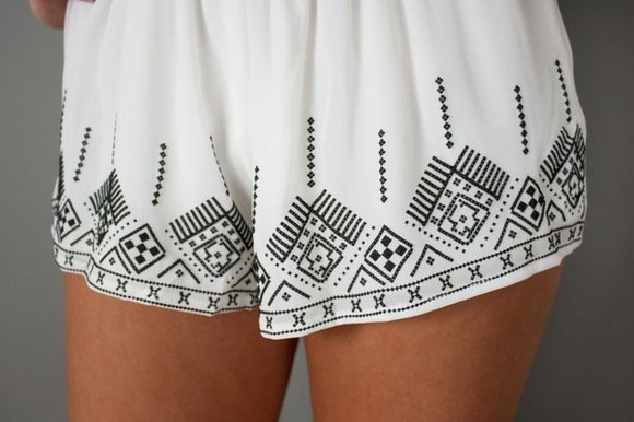 shorts white shorts aztec short flowy shorts embroidered shorts