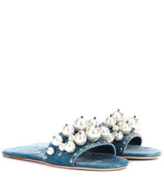 Miu Miu Embellished velvet slides in blue
