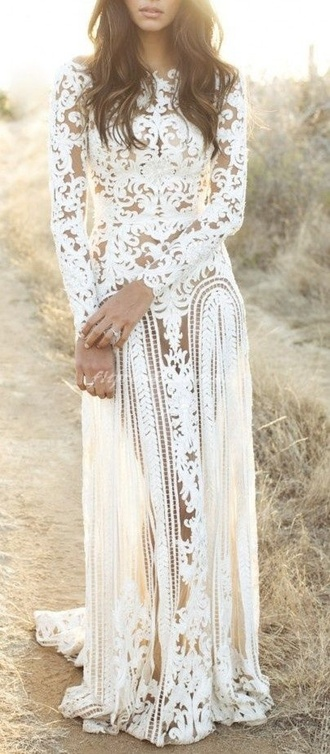 dress white wedding dress prom dress bohemian flowers lace design casual lace design white dress long dress long sleeve dress gypsey
