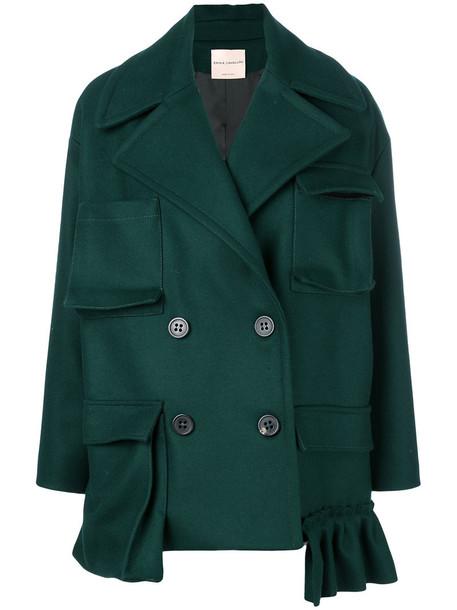coat short double breasted women wool green