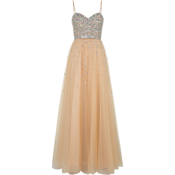 Champagne Maxi Prom Dress - Polyvore