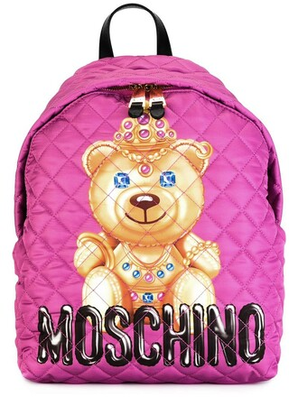 bear backpack print purple pink bag