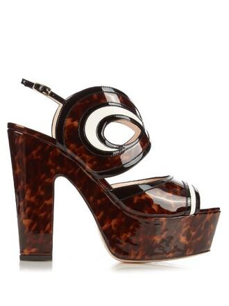 cut-out sandals platform sandals leather brown shoes