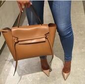 bag,jeans,tan,camel straps,camel bag,camel coat,leather bag,leather jacket,high waisted denim shorts,beautiful bags,brown bag,nude heels,nude high heels,purse,bags and purses,nude bag,caramel