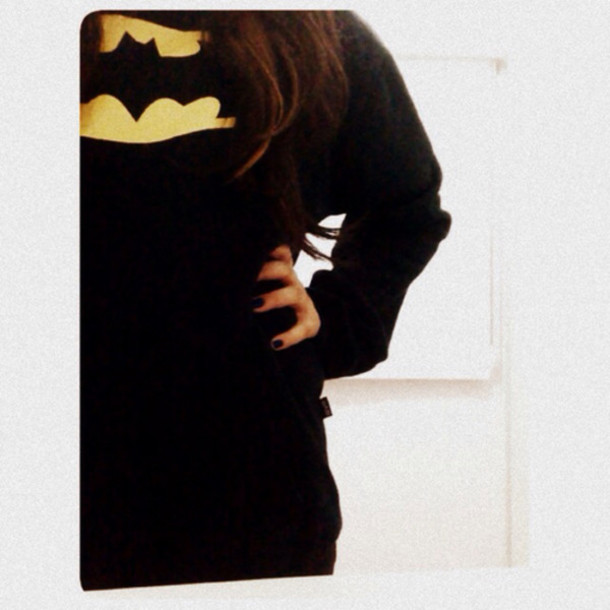 Shirt: black, batman, sweater, long sleeve, yellow, cute, clothes