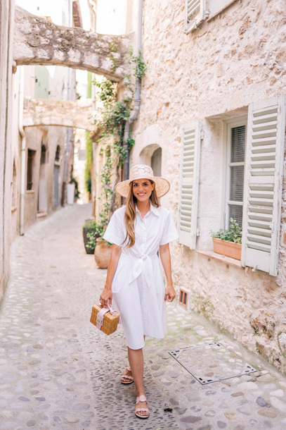 8912c5414ade dress hat tumblr midi dress white dress shirt dress sandals flat sandals bag  basket bag sun