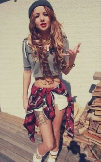 shorts shirt accessories denim t-shirt beanie beanie hat plaid jacket plaid